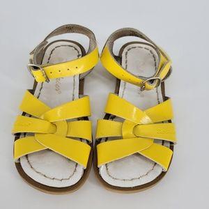 Salt water yellow leather sandle size 10 kids
